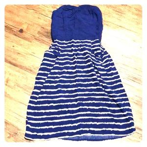 Xhilaration strapless dress in navy and white